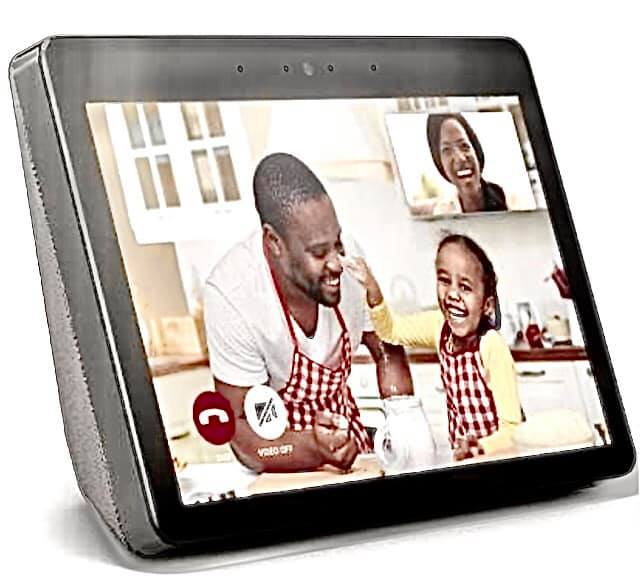 A family video chats on a small screen