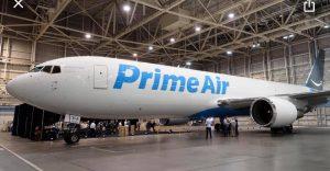 An Amazon Prime Air plane in a hangar