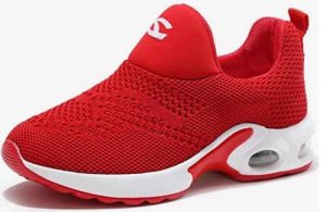 A red Champion brand running shoe